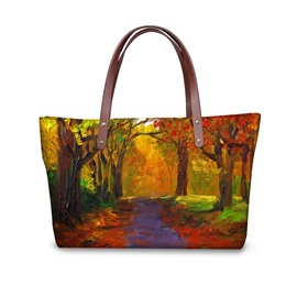 Painting Forest Path Maple Leaf Waterproof Sturdy 3D Printed for Women Girls Shoulder HandBags