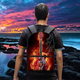Guitar Rock Music Fire Fan 3D Pattern School Outdoor for Man&Woman Backpack