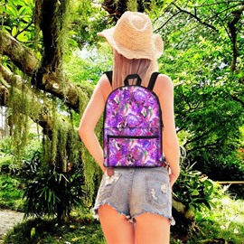 Floral Purple Violet 3D Pattern School Outdoor for Man&Woman Backpack