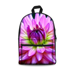 Purple Charming Flowers Pattern Washable Lightweight 3D Printed Backpack
