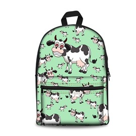 New Fashion 3D Cute Style 2D Drawing From Milk Cows Cartoon Backpack Students School Campus Bags