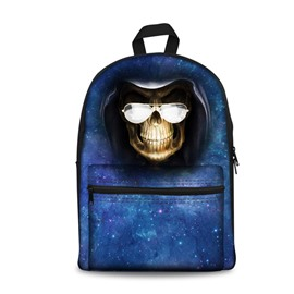 3D Skull with Glasses Universe Pattern School Outdoor for Man&Woman Backpack