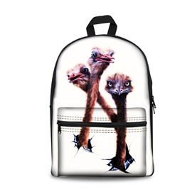 3D White Bottom color with Ostrich School Backpack for Boys Girls Fashion Durable Book Bag