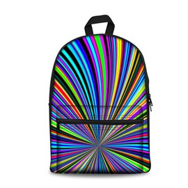 New Fashion 3D Radial Colorful Stripes Backpack Students School Campus Bags