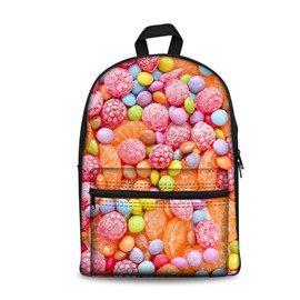New Fashion 3D Colorful Pink Sweet Sugars Backpack Students School Campus Bags