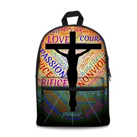 Love Passion Peace Jesus 3D Pattern School Outdoor for Man&Woman Backpack
