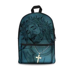 Theology Dark Blue Jesus Pattern Washable Lightweight 3D Printed Backpack