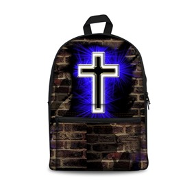 3D Bricks with Christian Cross Pattern School Outdoor for Man&Woman Backpack