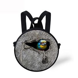 Round 3D Bird Animal Pattern School Bag Shoulders Backpack