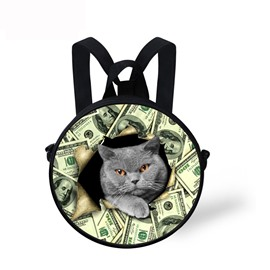 Blue Cat with Money Pattern School Bag Shoulders Backpack