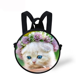 Cat Floral 3D Pattern Round School Bag Shoulders Backpack