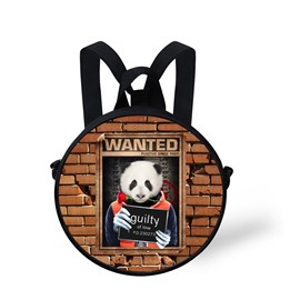Round 3D Panda Pattern School Bag Shoulders Backpack