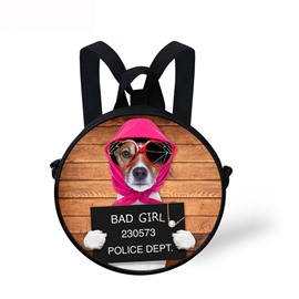 Pink Hat Bad Dog 3D Pattern Round School Bag Shoulders Backpack