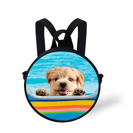 Round 3D Cute Dog Swimming Pattern School Bag Shoulders Backpack