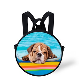 Adorable Dog with Pool Pattern School Bag Shoulders Backpack
