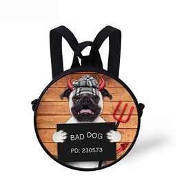 Evil Bad Dog 3D Pattern Round School Bag Shoulders Backpack
