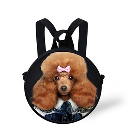 Round 3D Mr.Poodle Pattern School Bag Shoulders Backpack