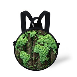 Tree Leaves 3D Pattern Round School Bag Shoulders Backpack