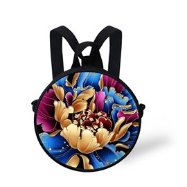 Golden Flower 3D Pattern Round School Bag Shoulders Backpack