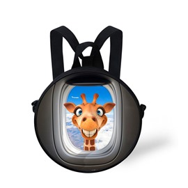 Giraffe Smile 3D Pattern Round School Bag Shoulders Backpack