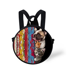 Animal Story 3D Pattern Round School Bag Shoulders Backpack
