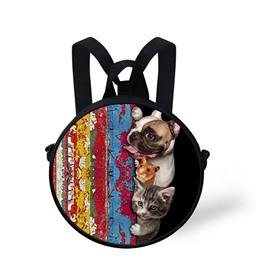 Animal Story 3D Pattern Round School Bag Shoulders Backpack