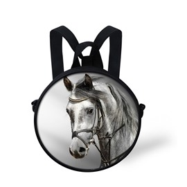 White Black Horse 3D Pattern Round School Bag Shoulders Backpack