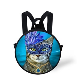 Blue Mask Cat 3D Pattern Round School Bag Shoulders Backpack
