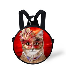 Cat Red Mask 3D Pattern Round School Bag Shoulders Backpack