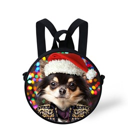 Round 3D Dog with Christmas Hat Pattern School Bag Shoulders Backpack