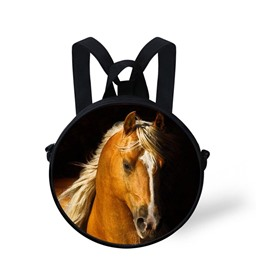 Round Cool Horse Pattern School Bag Shoulders Backpack