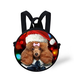 Round 3D Poodle Dog Wearing Christmas Hat Pattern Polyester Outdoor Backpack