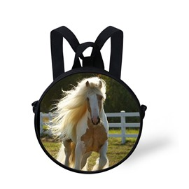 Round 3D Horse Running Pattern School Bag Shoulders Backpack