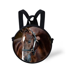 Round 3D Horse Pattern School Bag Shoulders Backpack