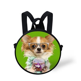 Round 3D Puppy Dog Pattern School Bag Shoulders Backpack