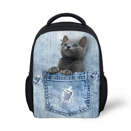 3D Grown Cat Sitting in the Pocket Polyester Outdoor Backpack