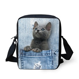 3D Animals Blue Cat Jeans Pattern Messenger Bag School Bag
