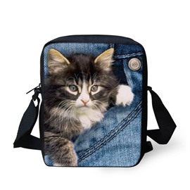 3D Animals Black White Cat Jeans Pattern Messenger Bag School Bag