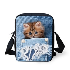 3D Animals Orange Cat Jeans Pattern Messenger Bag School Bag