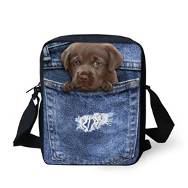 3D Animals Dog Jeans Pattern Messenger Bag School Bag