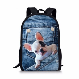 3D Bulldog Denim Printed Casual Style Polyester Outdoor Backpack