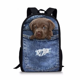 3D Animals Black Dog Fashion Pattern School Outdoor Backpack