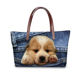 Waterproof 3D Golden Retriever Little Printed Shoulder HandBags