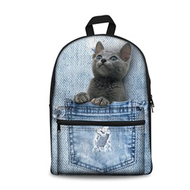 Design 3D Blue Cat Fashion Pattern School Outdoor Backpack