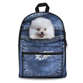 3D White Dog Design Fashion Pattern School Outdoor Backpack