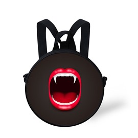 Round 3D Mouth Red Lips Sharp Tooth Halloween Pattern School Bag Shoulders Backpack