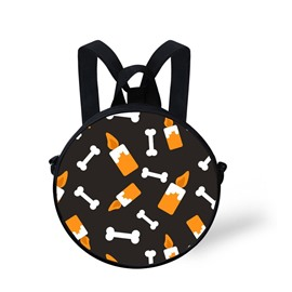 Round 3D Candle Bone Pattern School Bag Shoulders Backpack