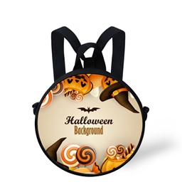 Round 3D Halloween Bat Pattern School Bag Shoulders Backpack