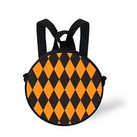 Pumpkin Color Geometry Pattern School Bag Shoulders Backpack