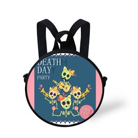Round 3D Halloween Skull Pattern School Bag Shoulders Backpack